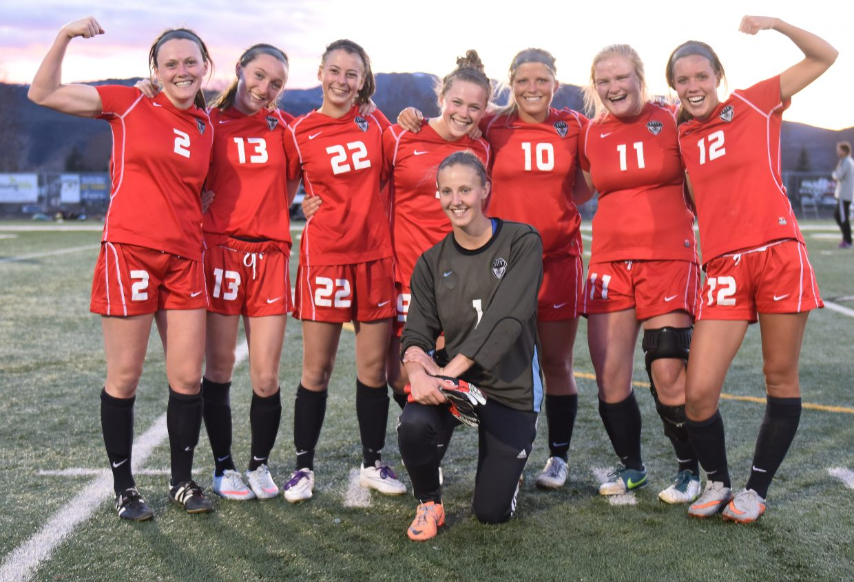 The Steamboat Springs High School seniors pose after beating rival Battle Mountain 3-0 to win the Western Slope League.