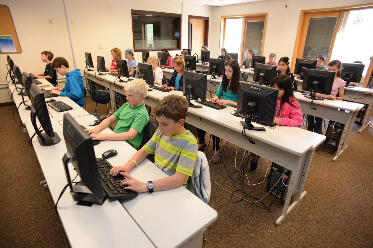 A sixth-grade class works on computers at Steamboat Springs middle school last week. The district is currently in the process of transitioning to electronic tests and adding Common Core standards for science and social studies.
