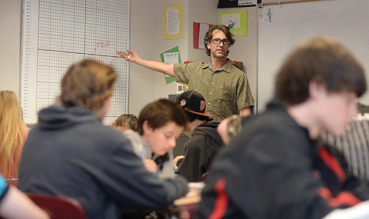 Steamboat Springs High School teacher Tom Brown looks for a response from students during a class last week. Some of those most impacted by Common Core are the teachers who are responsible for implementing new standards and curriculum.