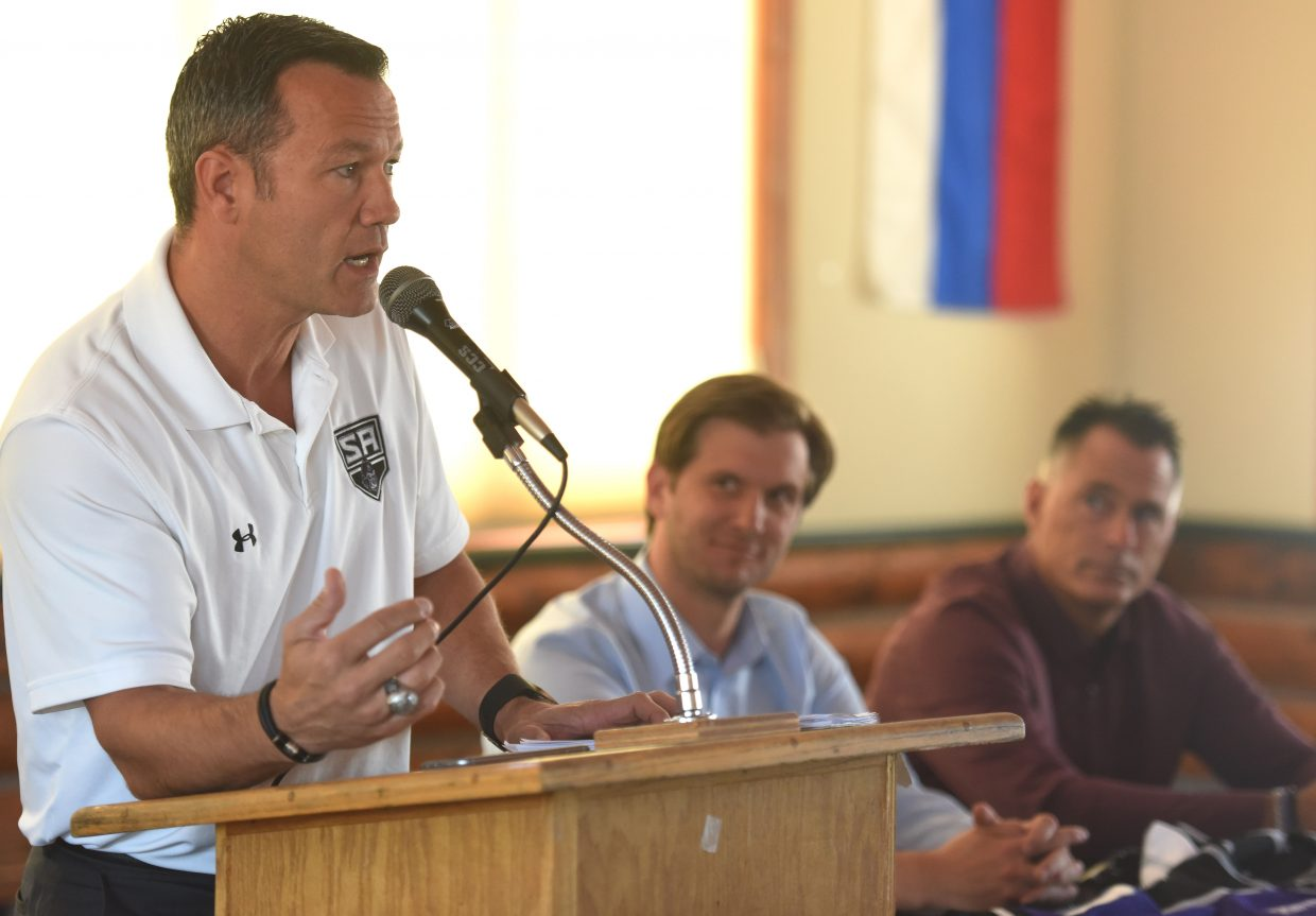 Troy Mick, president and managing partner for a new Steamboat Springs junior hockey team, announces at a Tuesday press conference at Howelsen Hill that the team will begin play this fall.