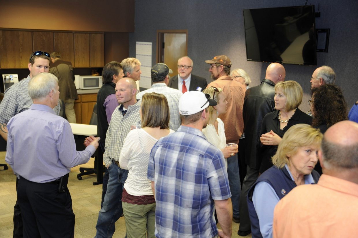 Residents meet with town manager candidates Tuesday night at Hayden Town Hall.
