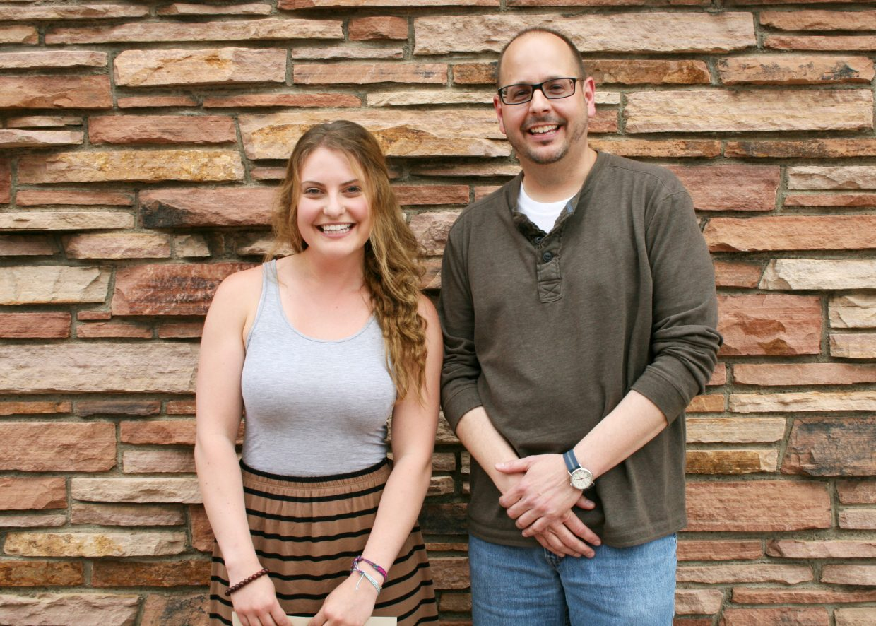 """Leala Smith, a resident of Steamboat who currently attends the University of Colorado at Boulder, won a prize for her essay """"Paleobsession."""" The prize was awarded by the university's Program for Writing and Rhetoric on April 25. Smith is pictured with her instructor, Tobin von der Nuell. Smith's essay investigated the health claims made by the Paleo Diet. """"Research, and a lot of other things in life. are all about patience and plain hard work,"""" Smith said. """"No one else will do your research for you. You get as much out of it as you put in."""" According to von der Nuell, Smith's essay was """"intelligent and personable, serious but not stuffy. Leala's writerly voice carried her essay and provided, start to finish, a satisfying read."""" The Program for Writing and Rhetoric is a freestanding unit in the College of Arts and Sciences at the University of Colorado at Boulder and is responsible for campus-wide instruction in expository writing at the first-year and upper-division levels."""