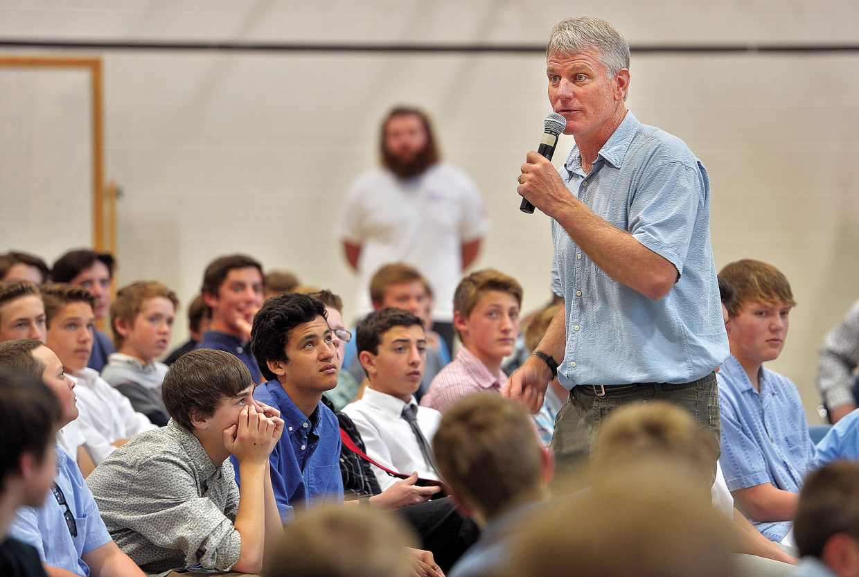 Professional speaker Todd Musselman addresses eight-graders during the Journey Ahead Workshop, which took place Tuesday on the Colorado Mountain College Campus in Steamboat Springs. The workshop drew more than 150 eighth grade boys from Routt and Moffat County for the workshop, which was designed to give the young men positive role models, and encouragement as they prepare for high school next year.