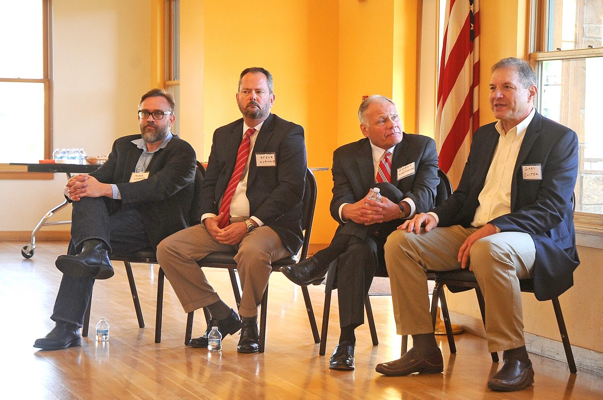 Steamboat Springs city manager finalists answer questions from an audience Thursday at the Community Center. The finalists include, from left, Michael Lamar, Steve Norwood, George Korthauer and Gary Suiter.