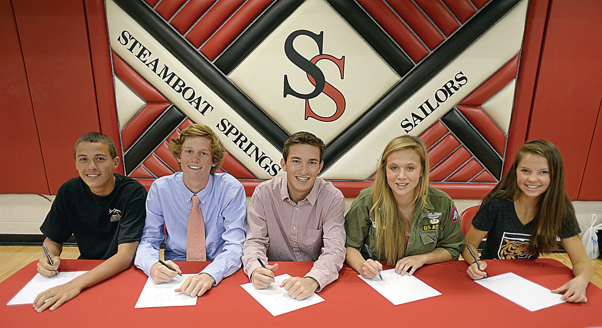 Several Steamboat Springs seniors have committed to play sports at college programs across the country. Zack Dunklin, left, has committed to playing basketball at Nebraska Wesleyan University; Peter White plans to play soccer at DePauw University in Indiana; Cutter Pasternak will play baseball at West Valley College in California; Sara Stout plans on playing soccer at Lewis & Clark College in Oregon; and Kira Lorenzen will play tennis at Colorado College.