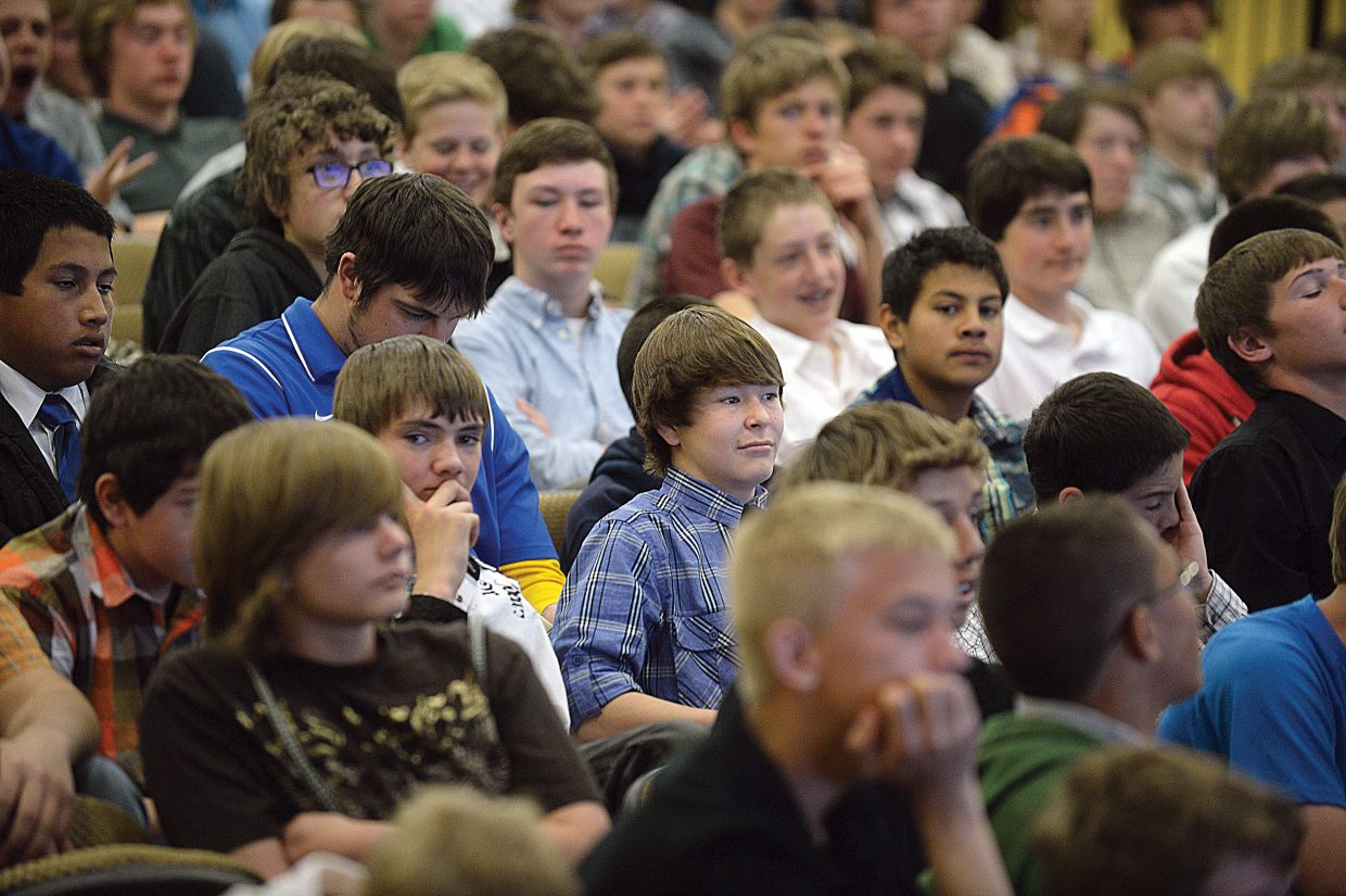Eighth-grade boys from Moffat and Routt counties gathered at Colorado Mountain College on Tuesday as part of The Journey Ahead workshop. The students listened to motivational speakers Todd Musselman and Craig Conrad.