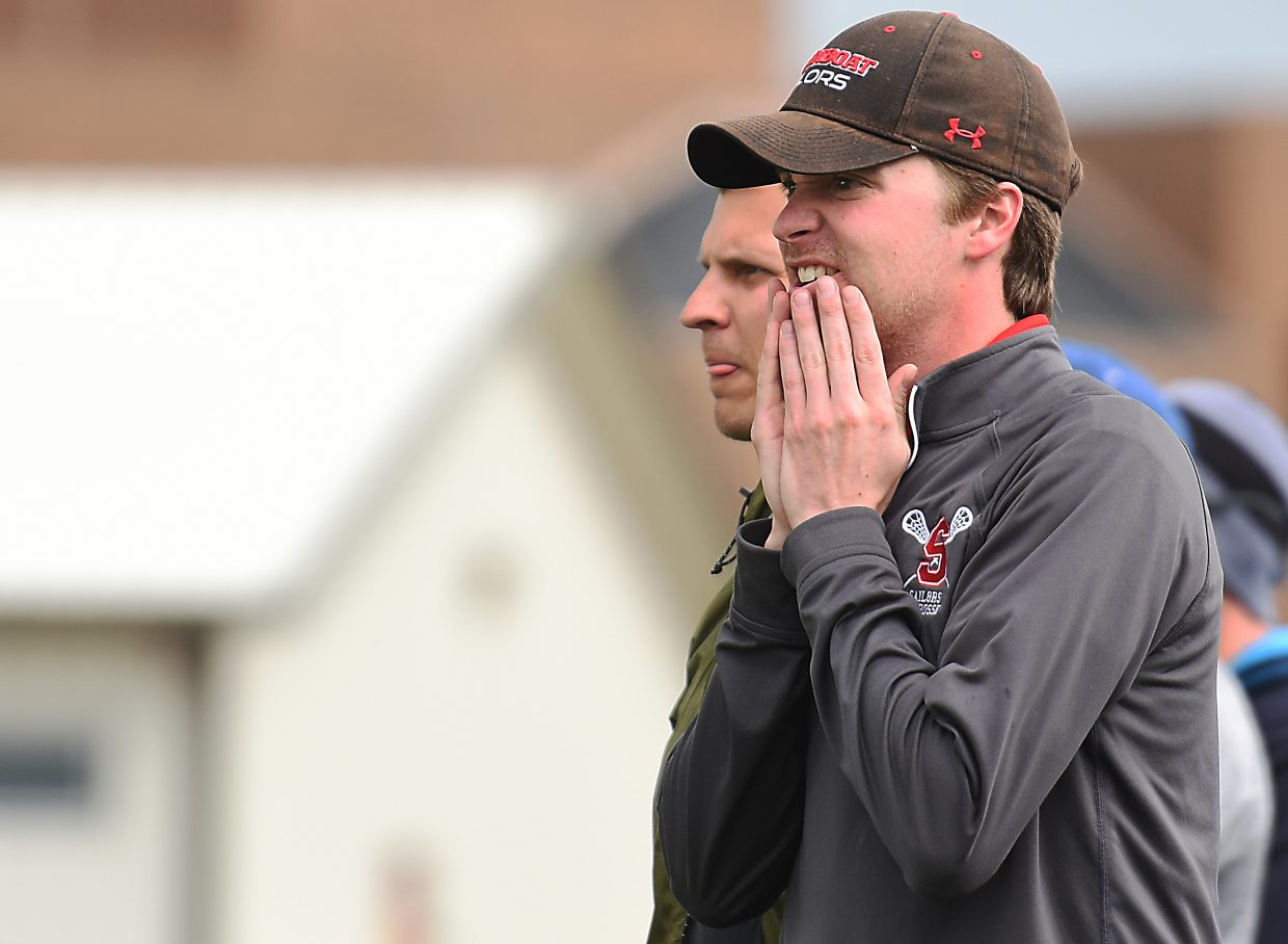Steamboat boys lacrosse coach Jay Lattimore reacts to the action on the field Wednesday.