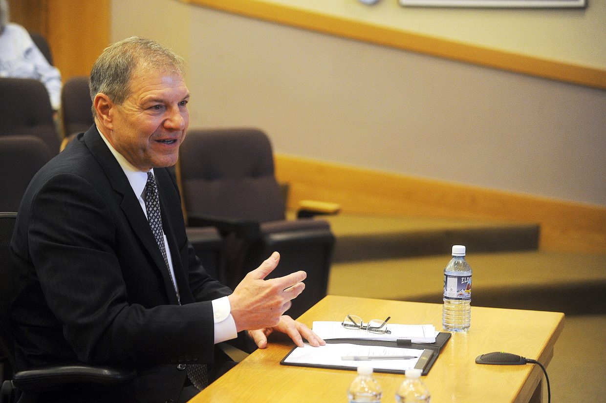 Interim City Manager Gary Suiter speaks during his interview Friday with the Steamboat Springs City Council. A community panel that interviewed Suiter and three other finalists recommended Suiter for the job.