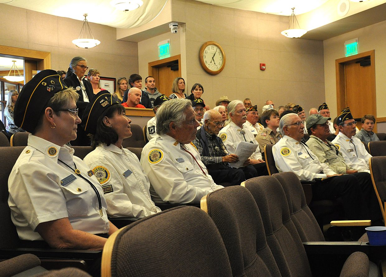 "Local veterans listen as the city of Steamboat Springs is proclaimed to be the 2015 ""Most Veterans Friendly Little City in Colorado."""