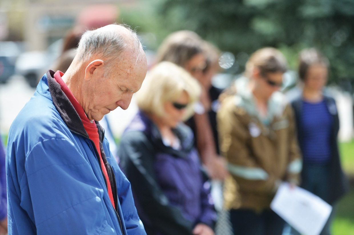 Longtime Steamboat Springs resident Bill Padgett takes part in an event recognizing the National Day of Prayer Thursday afternoon on the Routt County Courthouse lawn in Steamboat Springs. Padgett says he has helped organize the lunchtime prayer session for more than 15 years.