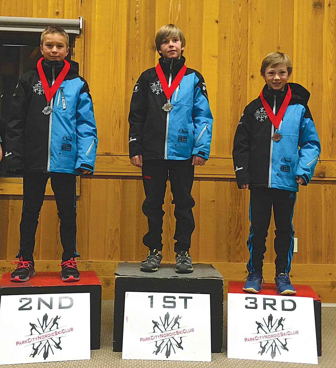 The Steamboat Springs U14 boys team swept the podium last weekend at the Western Regional Championships in Park City, Utah. Top finishers in the ski jumping event included Canden Wilkinson, middle, Niklas Malacinski, left, and Erik Belshaw.
