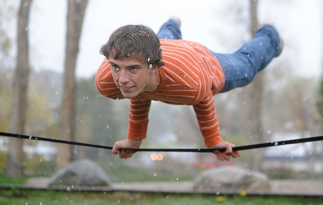 "Steamboat Springs High School student Jake Andersen combined his love of slacklining and film. Andersen won the action sports category at this year's Steamboat Springs Student Film Fest for his movie ""Slacking Steamboat."""