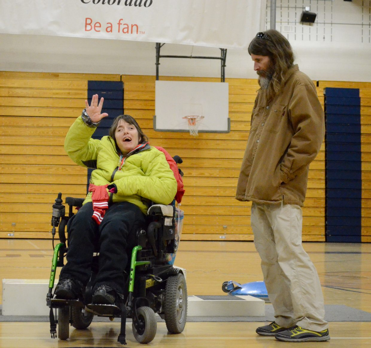 Alicia Yaeger won a couple wheelchair races and was all smiles during the awards ceremony.
