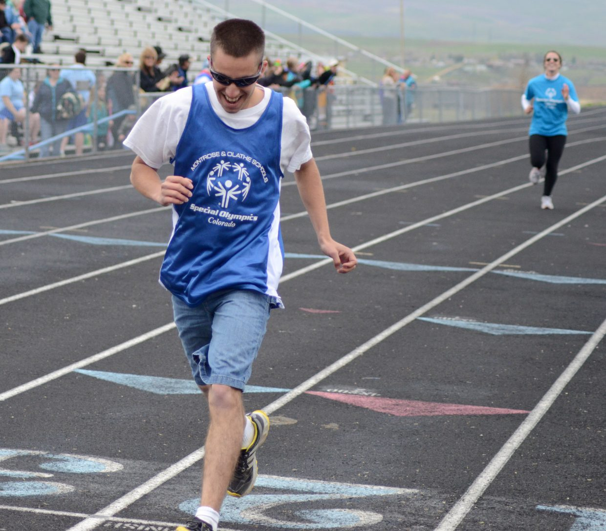 Jesse Middlebrook finishes his 400 meter dash strong Saturday in Craig.