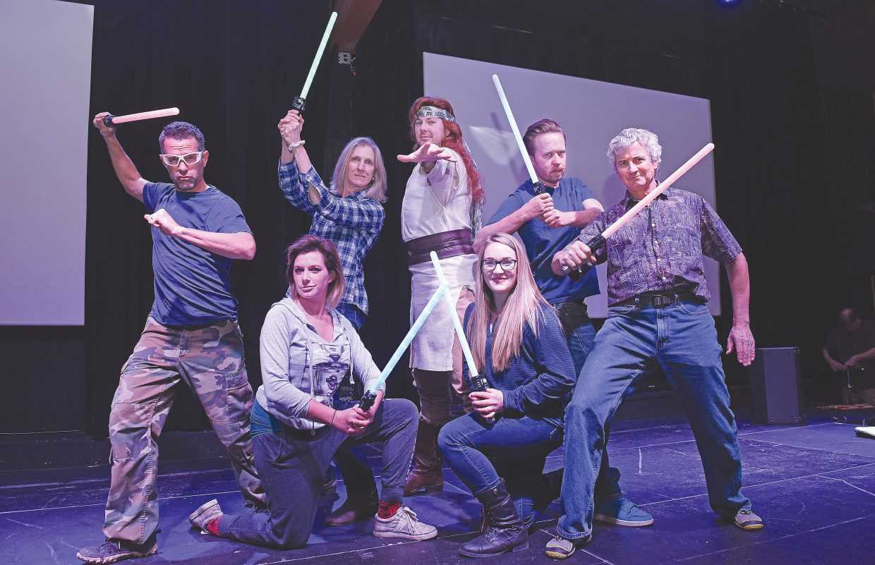 """The Steamboat Springs-inspired sketch comedy show tradition, """"Cabaret,"""" is back again this spring with a brand new Star Wars theme, """"The Farce Awakens."""" Here performers Antonio Marxuach, Pam Pierce, David Jolly, Matt Eidt, Russ Fasolino, Ashley Waters, kneeling on the left, and Carolyn Berns, kneeling on the right, rehearse the opening number. The Steamboat Springs Arts Council's 34th annual Cabaret will have two showings at 6 and 8:30 p.m. on Thursday, Friday and Saturday at the Chief Theater. Tickets are $30, and VIP tables are available for $250. Tickets can be purchased at the Depot Arts Center and All That or online at steamboatarts.org/cabaret."""
