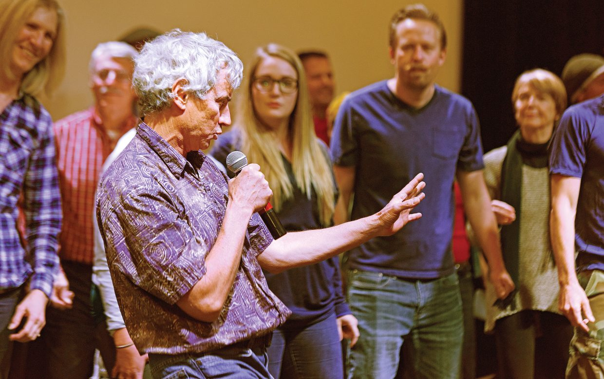 """Performer Russ Fasolino sings while rehearsing the opening number for this year's """"Cabaret"""" with the cast. The Steamboat-inspired sketch comedy show tradition, """"Cabaret"""" is back again this spring with a brand new theme. The Steamboat Springs Arts Council's 34th annual """"Cabaret"""" will have two showings at 6 and 8:30 p.m. on Thursday, Friday and Saturday this weekend. Back by popular demand, they will be continuing with six total performances that embody inside jokes Steamboat locals know all too well. Tickets are $30 and VIP tables are available for $250 which includes four premier seats, bottle of wine, """"Cabaret"""" schwag and """"lite bites."""" Tickets can be purchased at The Depot Art Center and All That or online at www.steamboatarts.org/cabaret."""