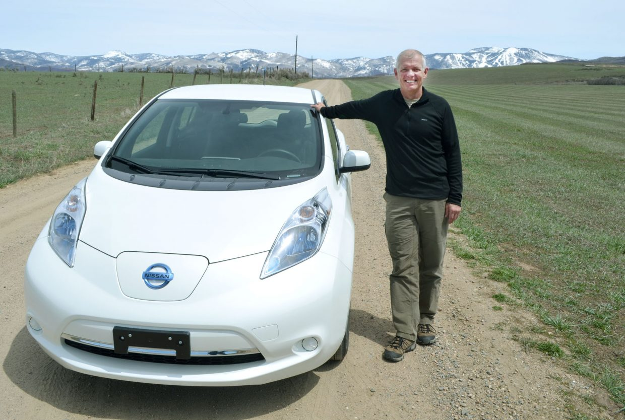 Jeff Troeger of Steamboat Springs proudly showed off his all-electric Nissan Leaf in 2013.