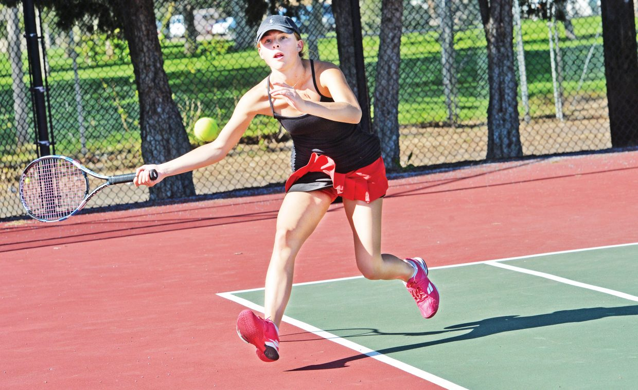 Steamboat's Sabina Berend returns a shot on the first day of the Colorado 4A State High School Tennis Championships at Pueblo City Park. Berend and Sydney Boyd, who make up the Sailors No. 2 doubles team, won their opening round match but fell in the semifinals.