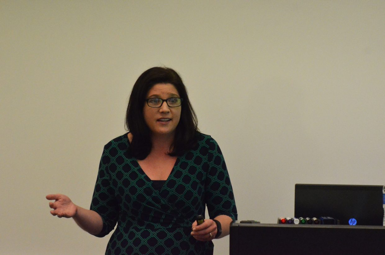 Korey Elger, ongoing child protection administrator in the Colorado Department of Human Services, spoke on Wednesday at the community forum at Northwestern Colorado Community College's Craig campus.