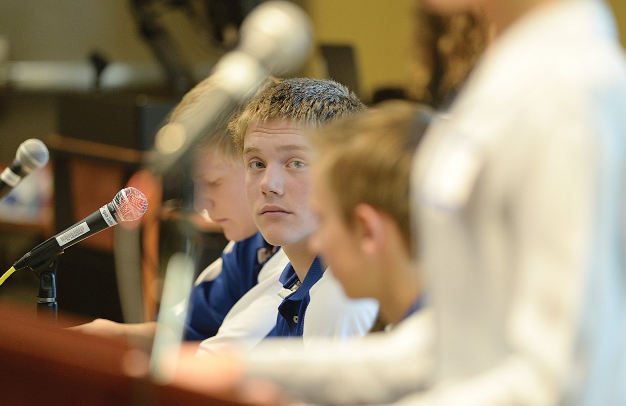 Colton Sankey listens to a speaker during the Model United Nations event on the Colorado Mountain College campus Thursday. Middle school students from Craig, Steamboat Springs, South Routt, Walden, Granby, Fort Collins, Aspen and Eagle/Vail came for the event, which simulates the decision making process of the real United Nations.