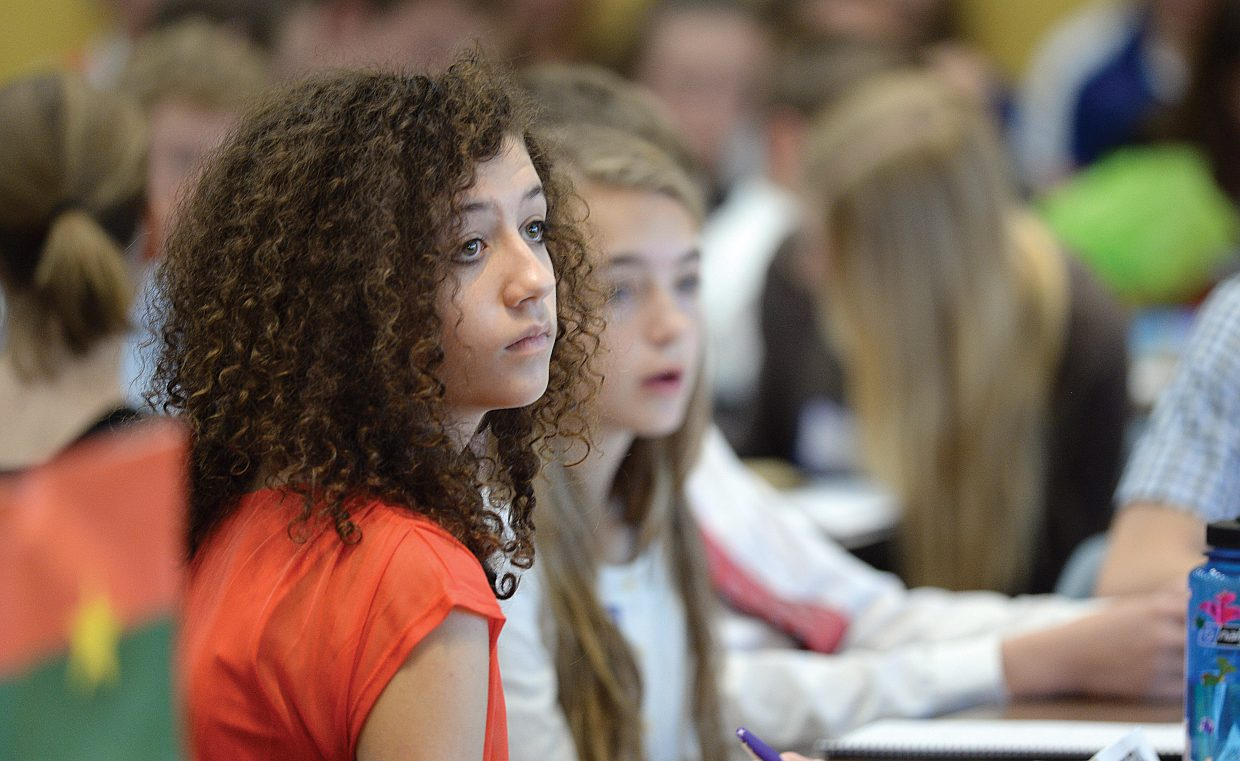 Morgan Perlman listens to a speaker during the Model United Nations event on the Colorado Mountain College campus Thursday. Middle school students from Craig, Steamboat Springs, South Routt, Walden, Granby, Fort Collins, Aspen and Eagle/Vail came for the event, which simulates the decision making process of the real United Nations.
