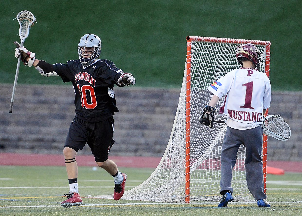 Ben Wharton celebrates a first-half goal Wednesday during the team's state semifinal game.