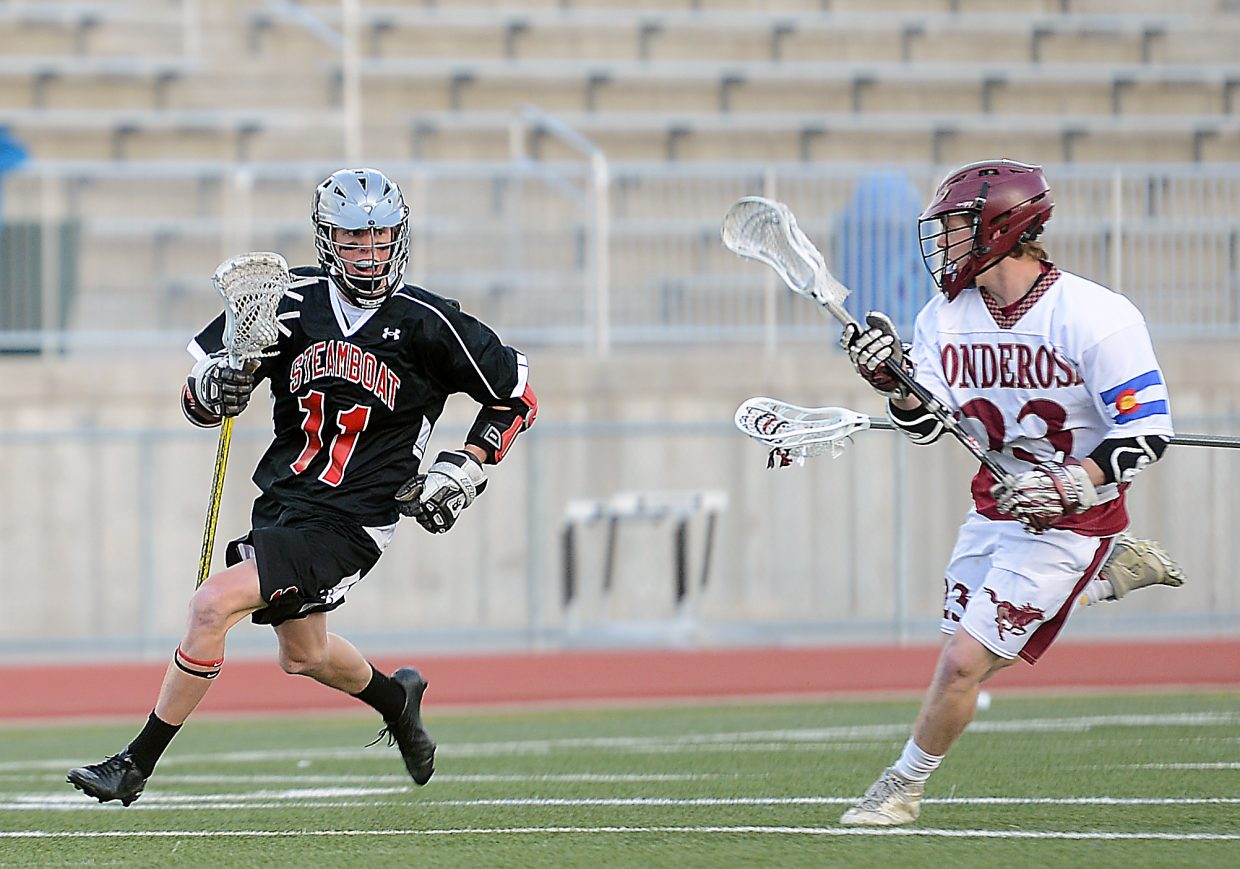Steamboat's Peter White races against the defense Wednesday.