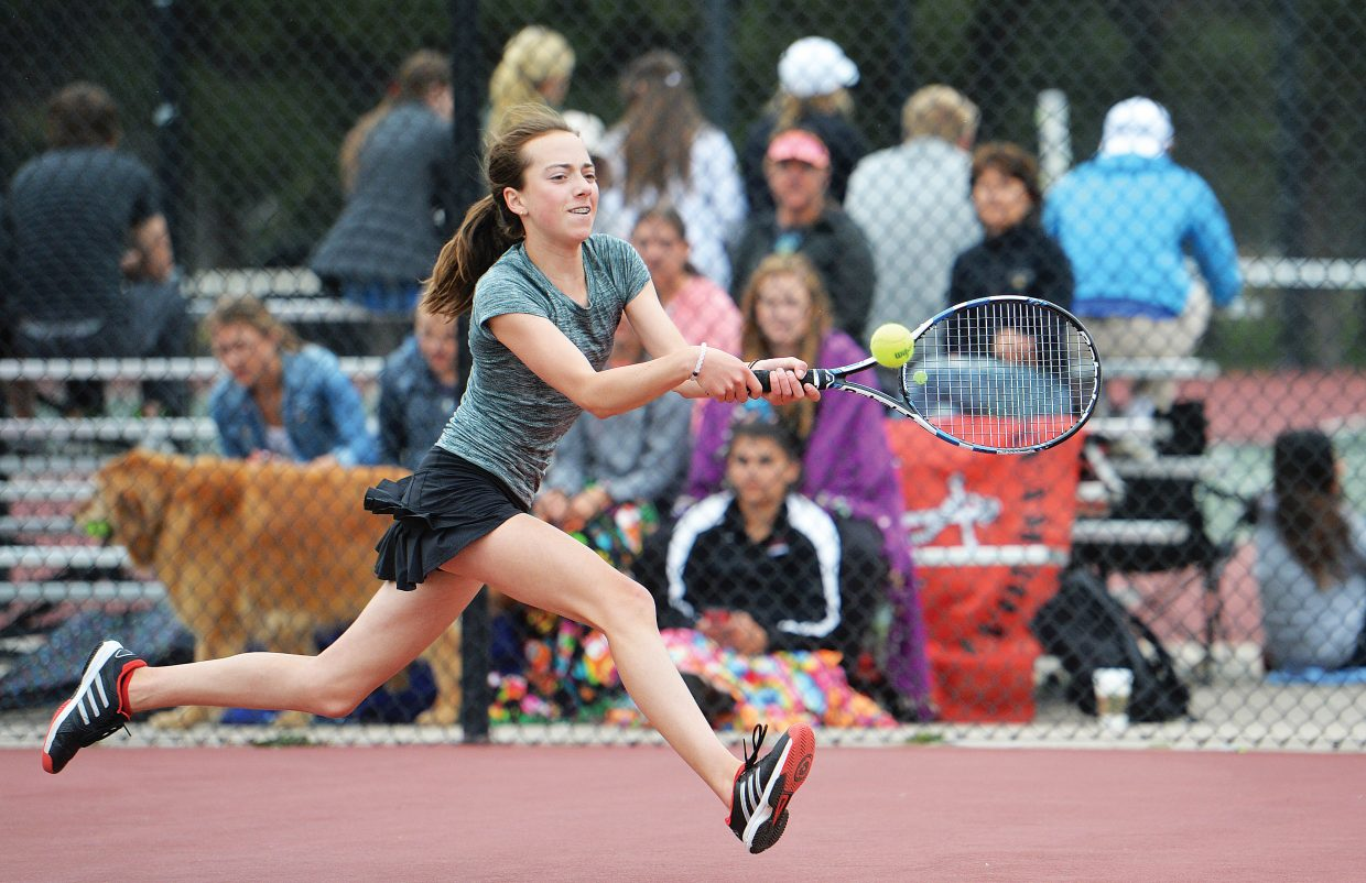 Steamboat Springs freshman Tatum Burger returns a shot during Wednesday's state championship match against St. Mary Academy senior Alex Weil. Burger won the match 4-6, 6-1, 6-2 to bring home Steamboat Springs' first state title since 2009.