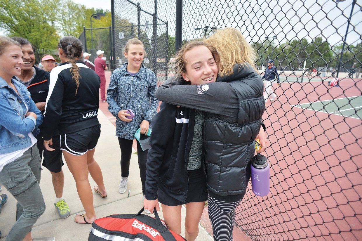 Steamboat Springs freshman Tatum Burger is hugged by her mom after winning the No. 1 singles title at the 4A Colorado State Tennis Championships Wednesday morning in Pueblo. Burger, who defeated St. Mary Academy's Alex Weil 6-4, 6-1, 6-0 in the championships match, becomes the first Sailor to win a title since 2009.