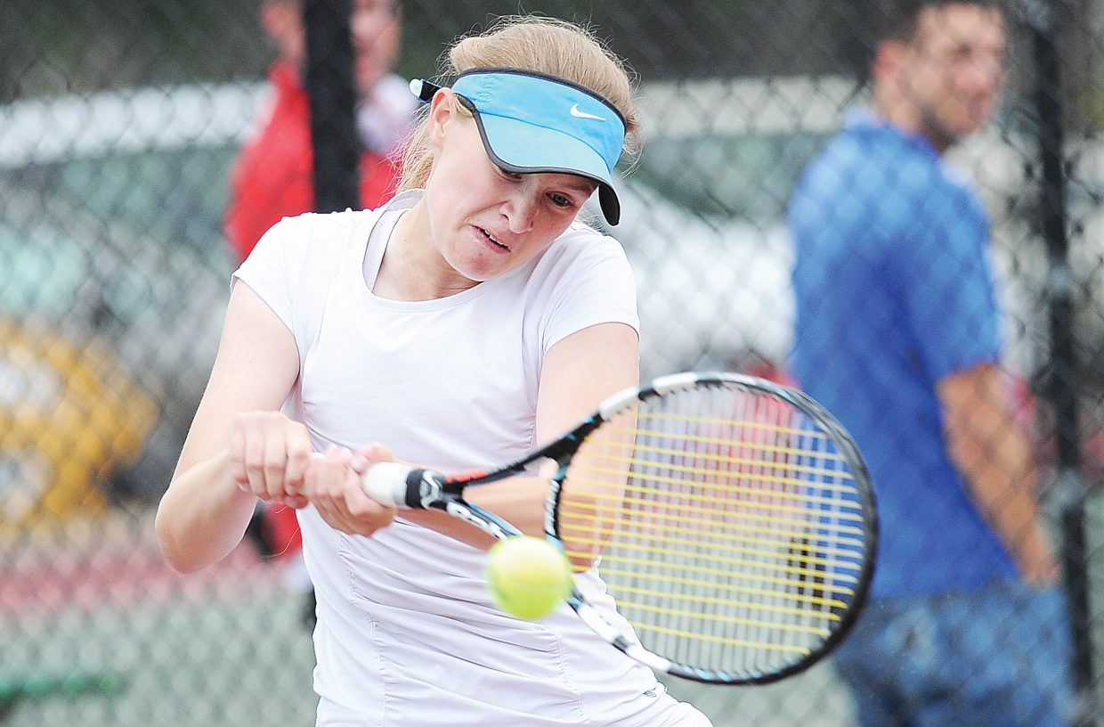 St. Mary's Academy No. 1 singles player Alex Weil returns a shot in Wednesday's state championship match. She lost to Steamboat Springs' Tatum Burger 4-6, 6-1, 6-0.