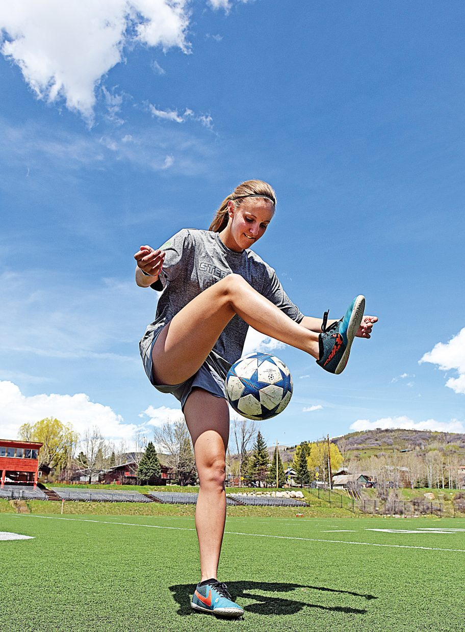 Steamboat Springs High School goalkeeper Ocoee Wilson shows off her juggling moves at Gardner Field. In addition to being one of the state's top goalie, Wilson also excels at freestyle juggling.