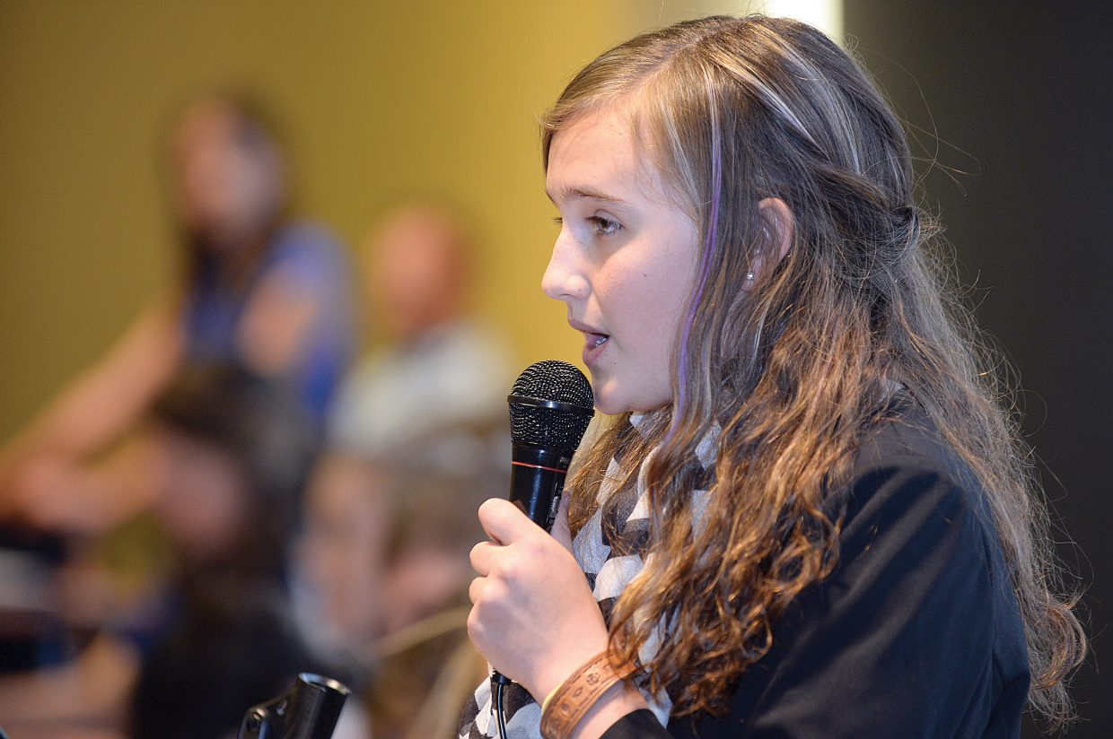 East Grand Middle School student Kallista Kirwan presents her resolution in front of a mock United Nations general assembly Wednesday afternoon at the Colorado Model United Nations event at Colorado Mountain College. The assembly, which drew 175 students from seven school districts representing 28 nations, debated resolutions on political, social and environmental world issues.