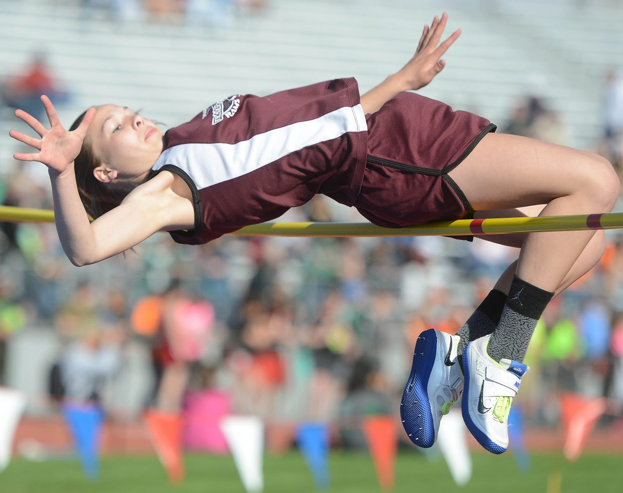 Soroco sophomore Kali Constine clear the bar at 5 feet, 1 inch Thursday during the Class 2A high jump competition at the state track meet in Lakewood. She didn't make it by much, but it was more than enough for the Ram, who placed third in the event and set the school record.