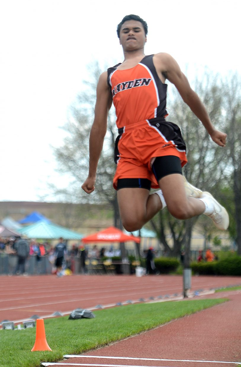 Hayden junior Jack Redmond jumps in the long jump Thursday at the state track meet in Lakewood. Redmond placed 18th.