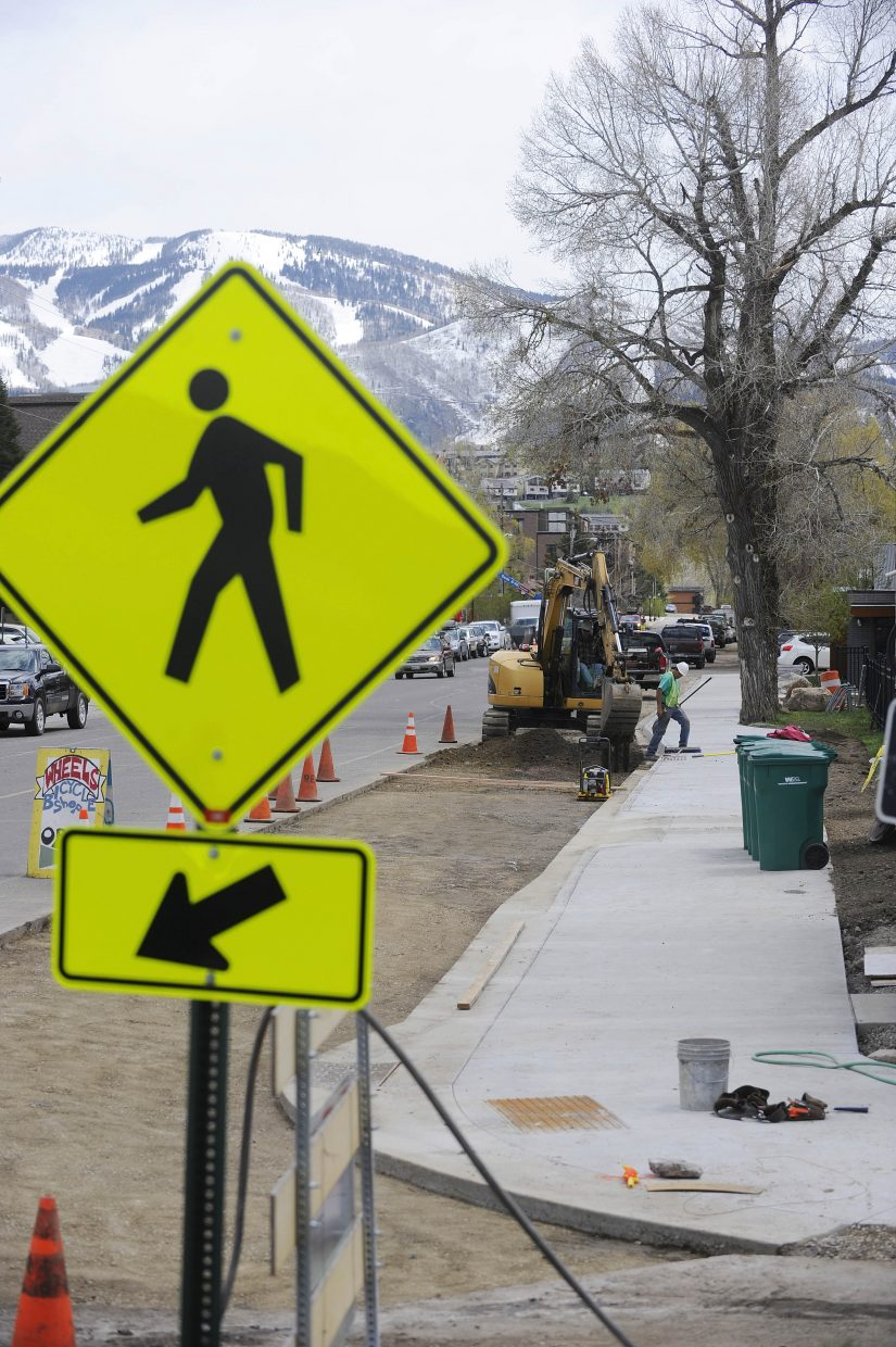 A new stretch of sidewalk between Eighth and Ninth streets along Yampa Street was paid for using about $130,000 in private and public dollars.