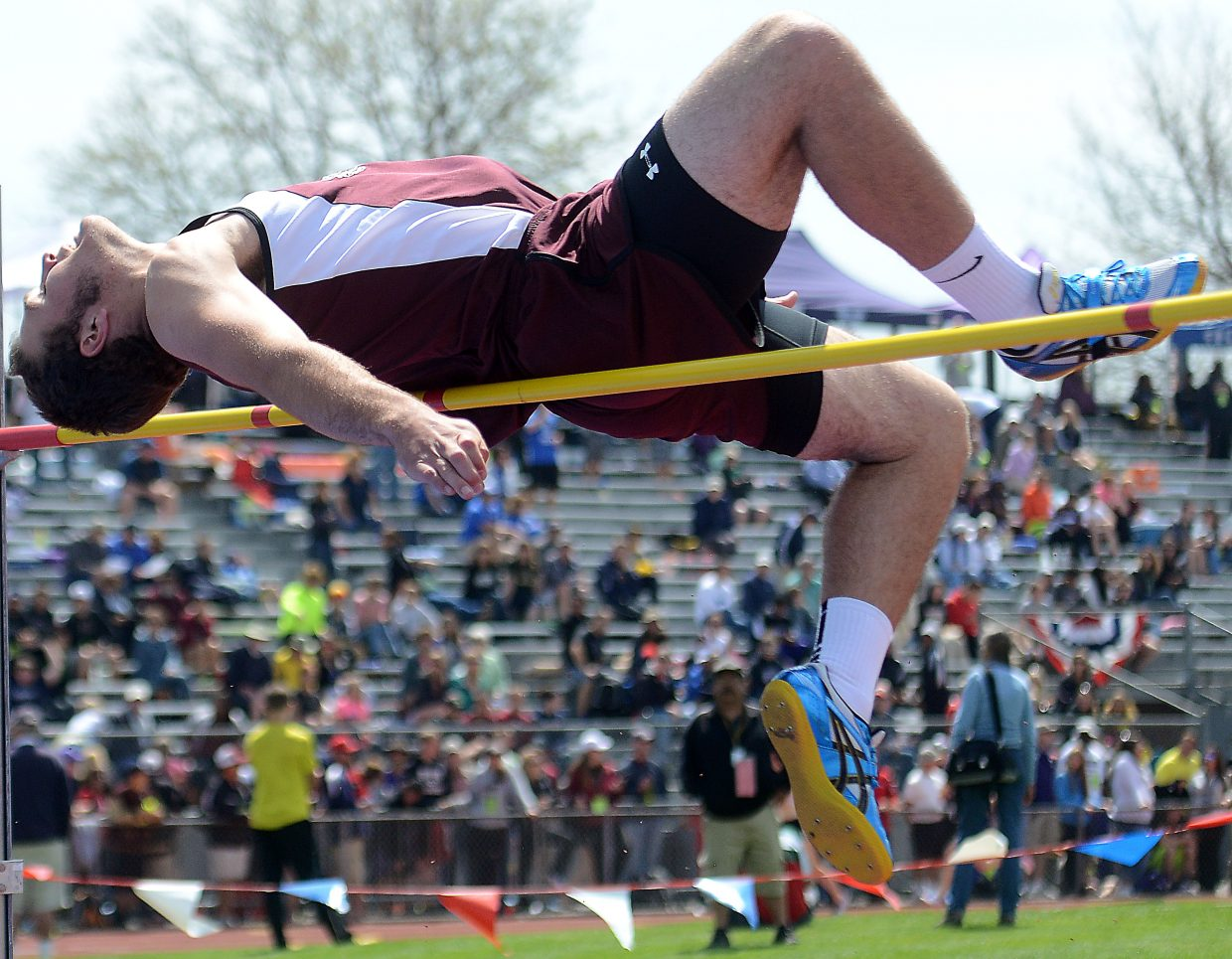 Soroco senior Ryan Jeep tries to clear the bar during Saturday's high jump event at the state track meet.