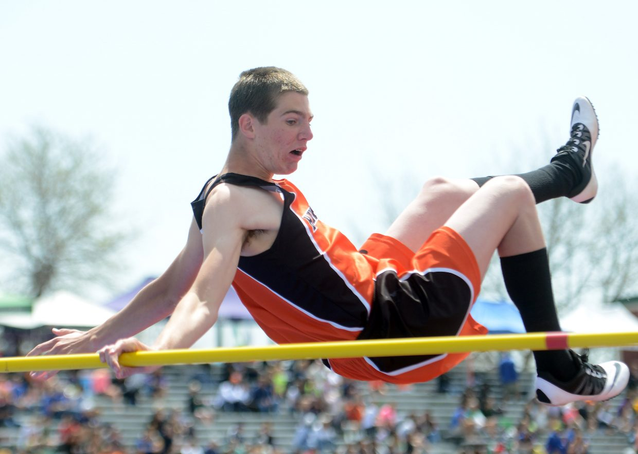 Hayden's Thomas Rauch didn't get a good run at his final attempt at the state track meet and ended up pulling the bar down with him.