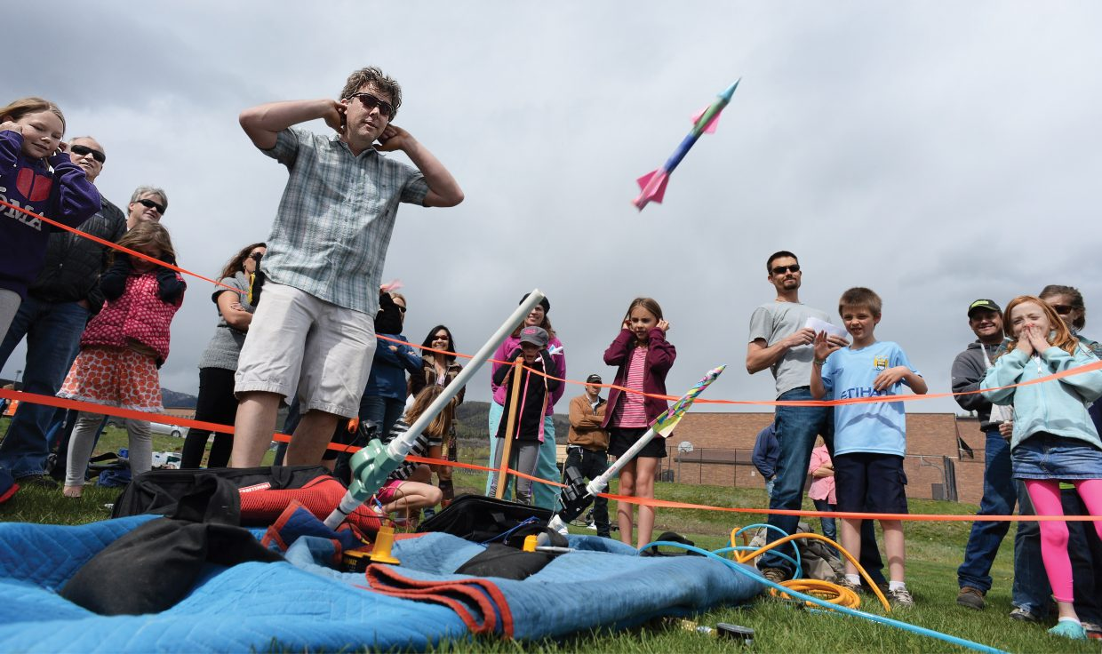 Chris Sias launches a paper rocket Friday afternoon at the Steamboat Springs Middle School as part of the Steamboat Springs Challenge Fund Air Powered Paper Rocketry Competition for third and fourth grade students.