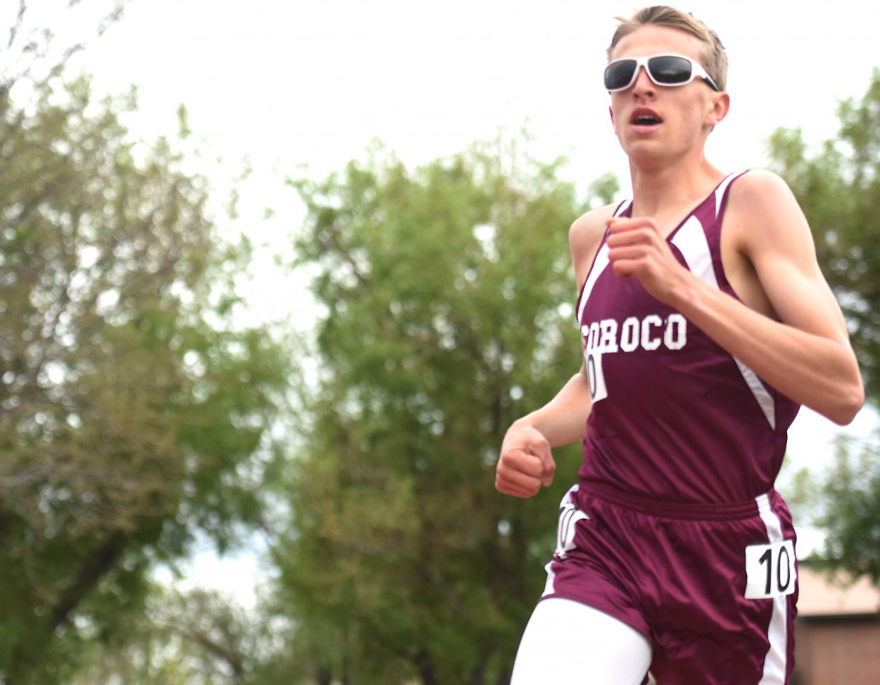 Soroco freshman Ben Kelley runs in the 1,600 on Saturday at state. He saved his best for late in the race and placed sixth.