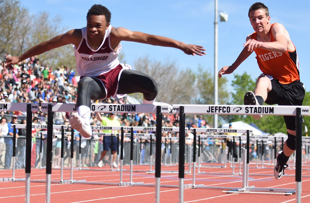 Thomas Rauch clears a hurdle Saturday during the Class 2A boys 300-meter hurdles event at the state track meet in Lakewood.