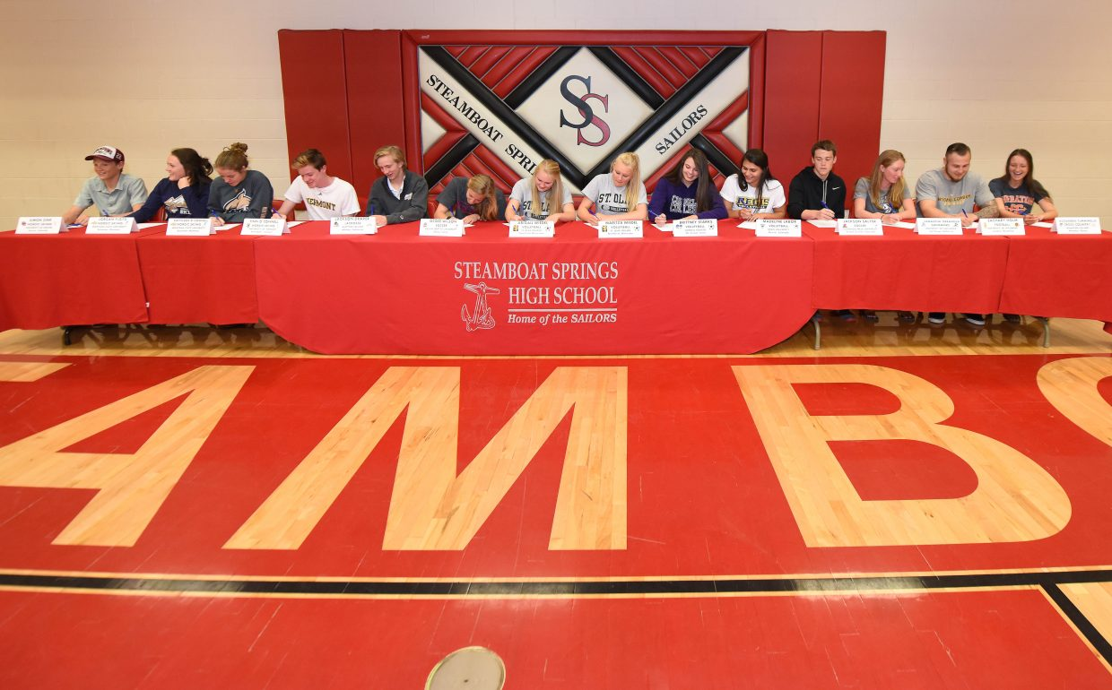 Fourteen Steamboat Springs High School athletes are recognized for their achievements and their plans to compete next year at their chosen colleges.