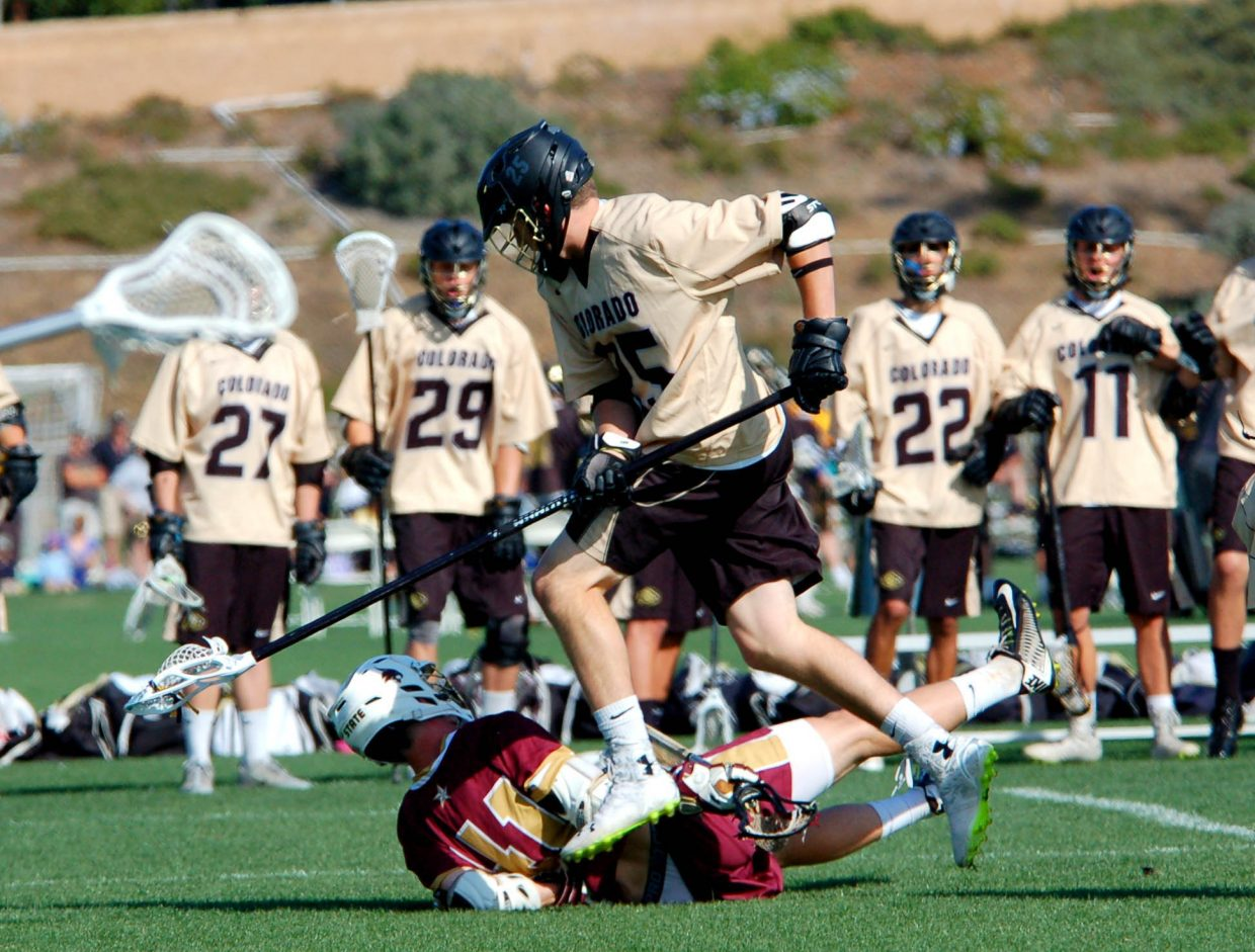 Penn Lukens, a former Steamboat Springs lacrosse player now competing with the University of Colorado, competes for a national championship last week in southern California. Lukens was one of three former Steamboat Springs players on the team that fell to Grand Canyon University in the championship game, 9-8.