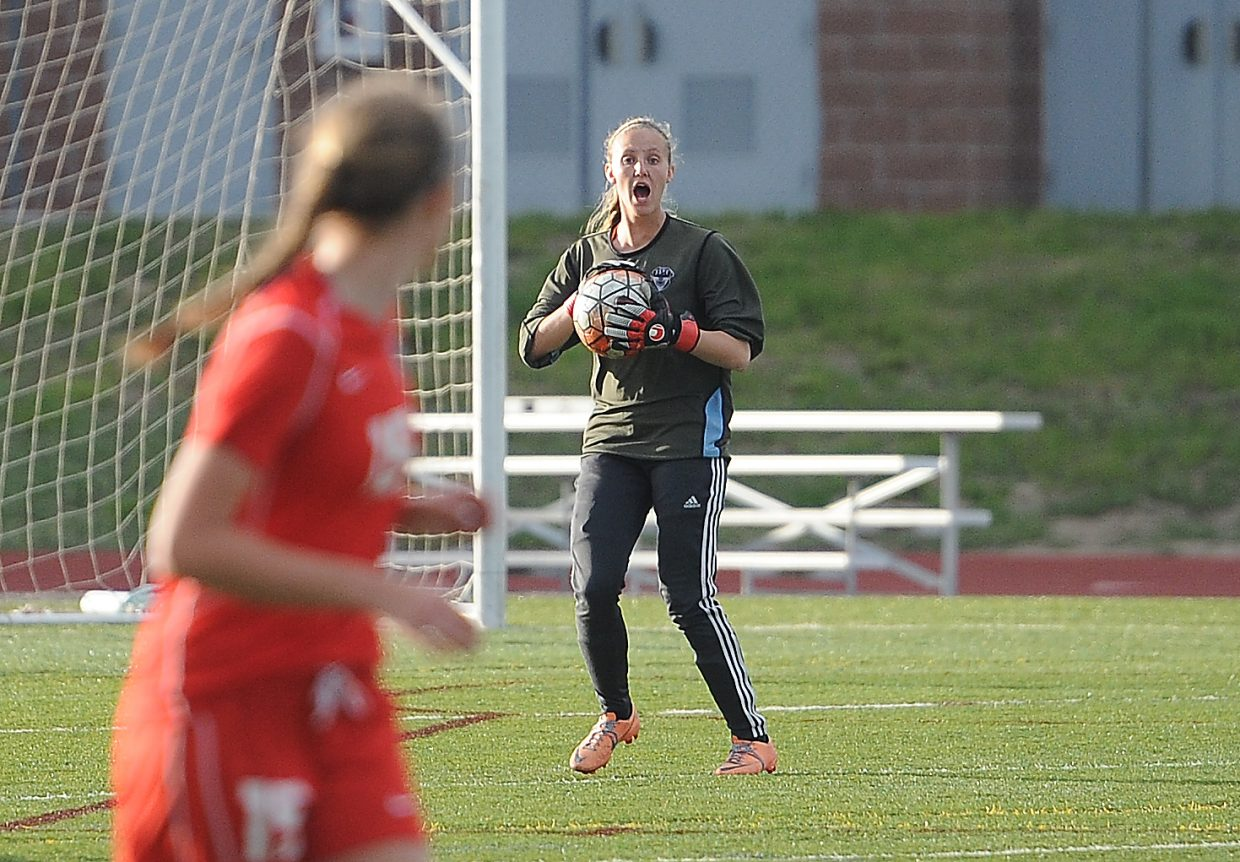 Steamboat goalie Ocoee Wilson shouts out instructions to her teammates Thursday during the state playoffs.