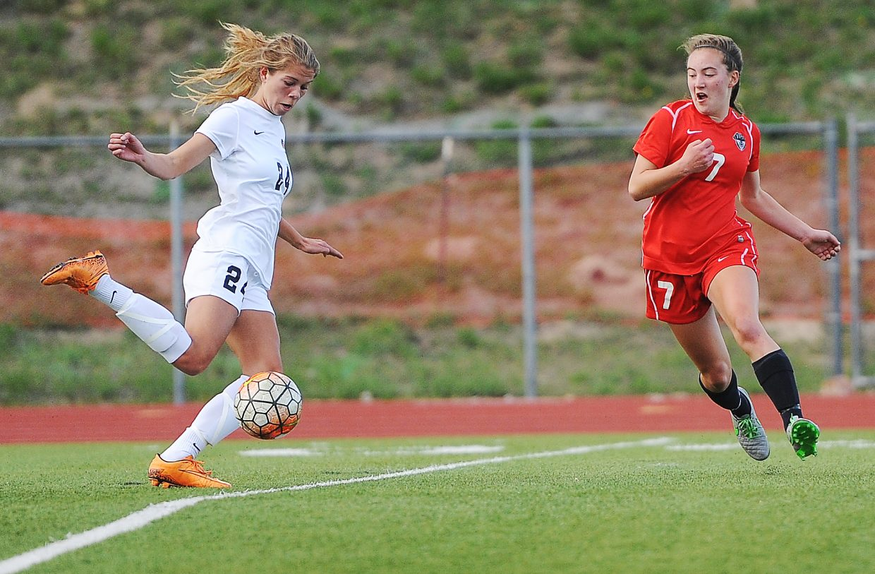 Lewis-Palmer's Brianna Alger dances around the ball as Steamboat sophomore Keelan Vargas tries to keep pace Thursday. Alger, one of the top scoring players in the state, made it through Steamboat's defense on the play for her only goal of the game.