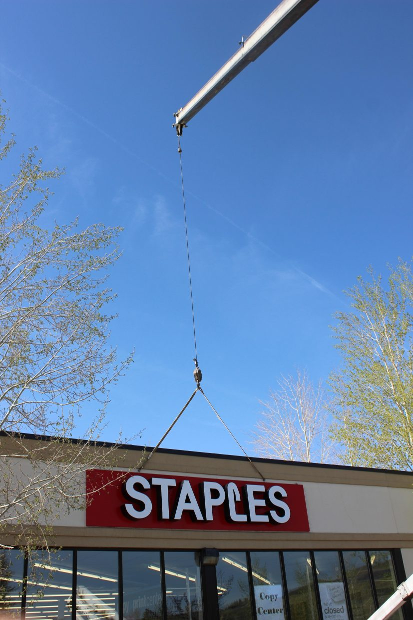 The Staples store in Steamboat Springs closed its doors Saturday, and the sign was taken off the building Monday. According to manager Ralph Rainwater, the store was among 89 closures announced by the corporation in early April. The local Staples store had been in business since 2006.