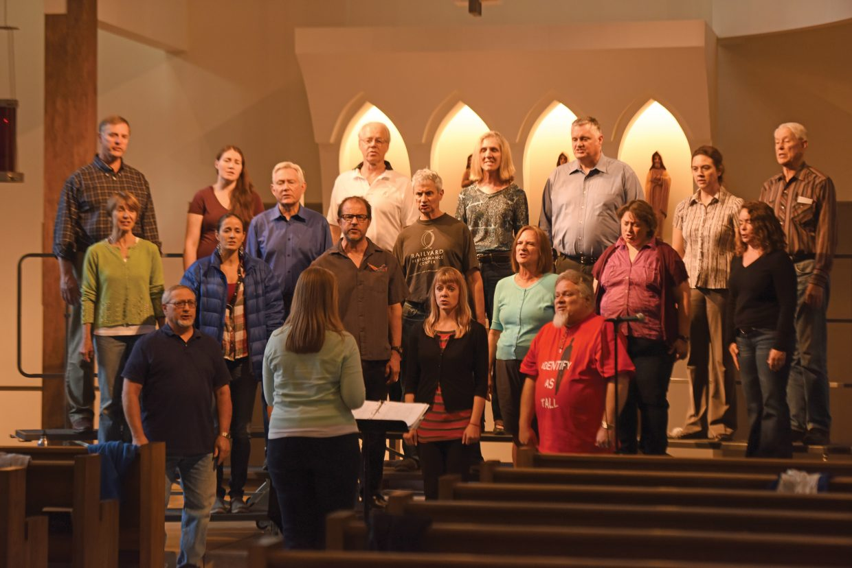"""The Steamboat Chamber Singers rehearse with director Christel Houston earlier this week. The group's """"Ireland's Call"""" concert, set for Friday and Saturday at St. Paul's Episcopal Church, will feature several guest performers."""