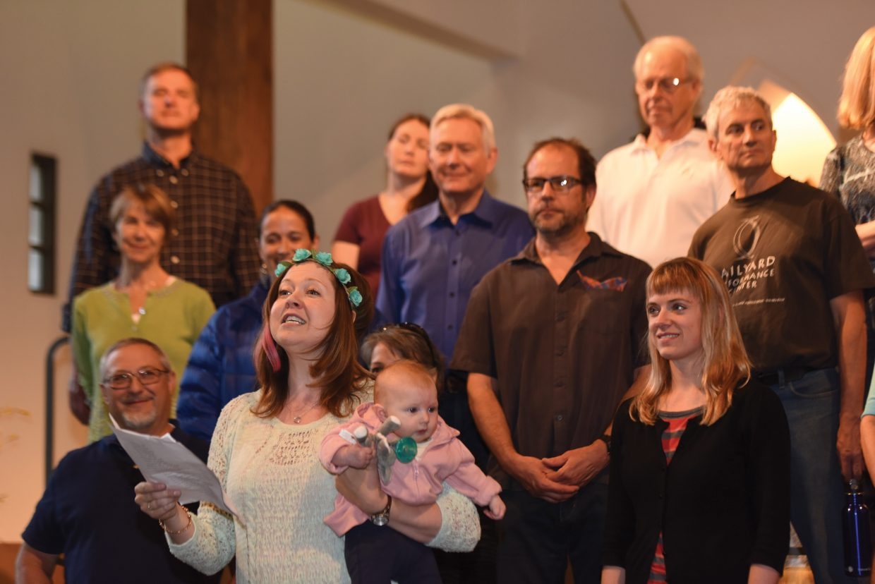 """Sharon Pinney-Gamradt and her daughter, Evelyn, rehearse with The Steamboat Chamber Singers earlier this week. The group's """"Ireland's Call"""" concert, set for Friday and Saturday at St. Paul's Episcopal Church, will feature several guest performers."""