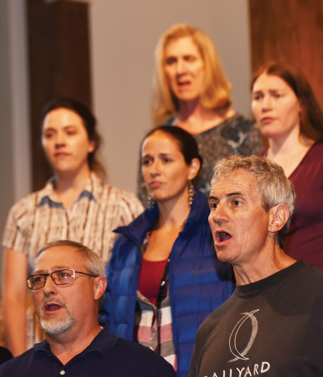 """Steamboat Chamber Singers David Tyree (right) and Russ Fasolino (left) rehearse with the group earlier this week. The Steamboat Chamber Singers' """"Ireland's Call"""" concert, set for Friday and Saturday at St. Paul's Episcopal Church, will feature several guest performers."""