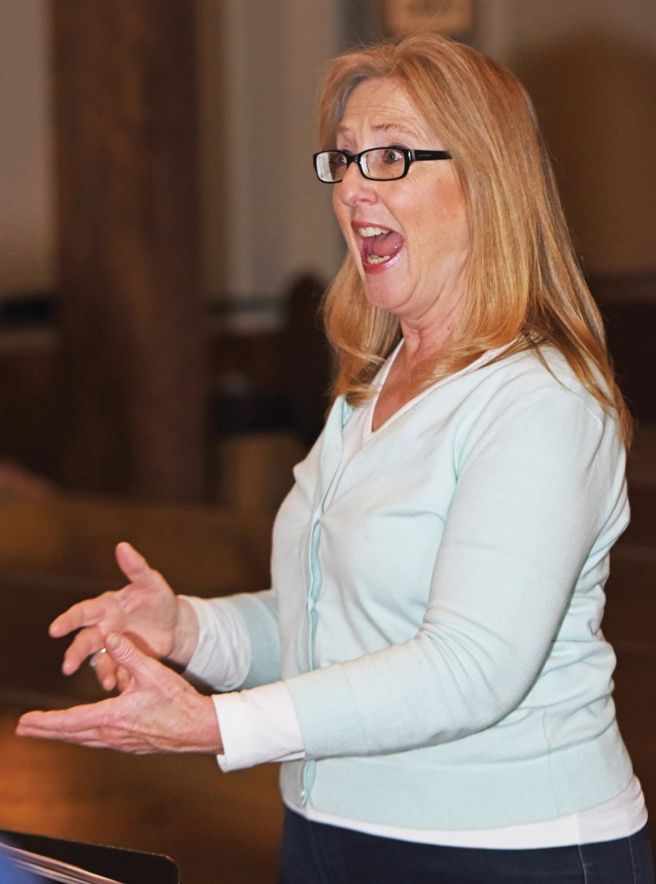 """Director Christel Houston rehearses with The Steamboat Chamber Singers earlier this week. The group's """"Ireland's Call"""" concert, set for Friday and Saturday at St. Paul's Episcopal Church, will feature several guest performers."""