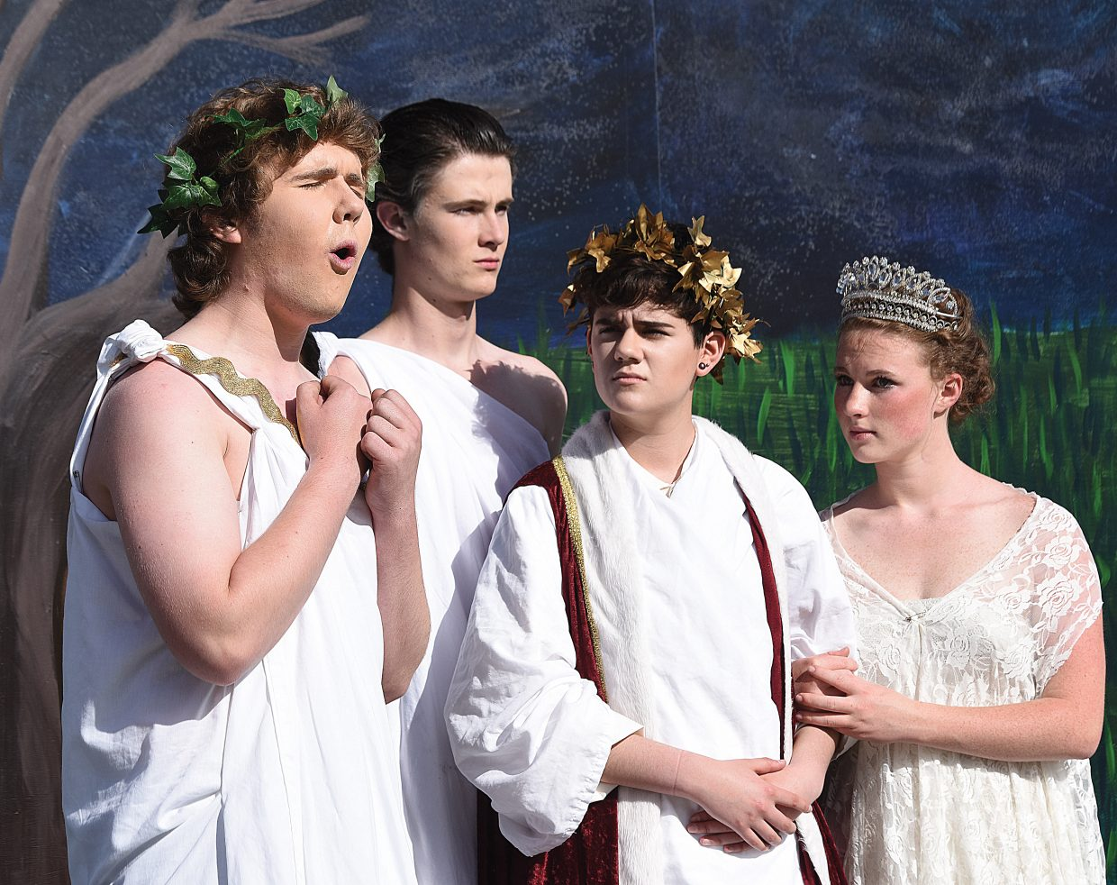 Tucker Sanford, who portrays Lysander in the Steamboat Springs High School's production of Midsummer Night's Dream, rehearses a scene on a stage set up in front of the Steamboat Springs High School. The show are scheduled for 5 p.m. Friday and Saturday evenings. There will be a show at noon Saturday.
